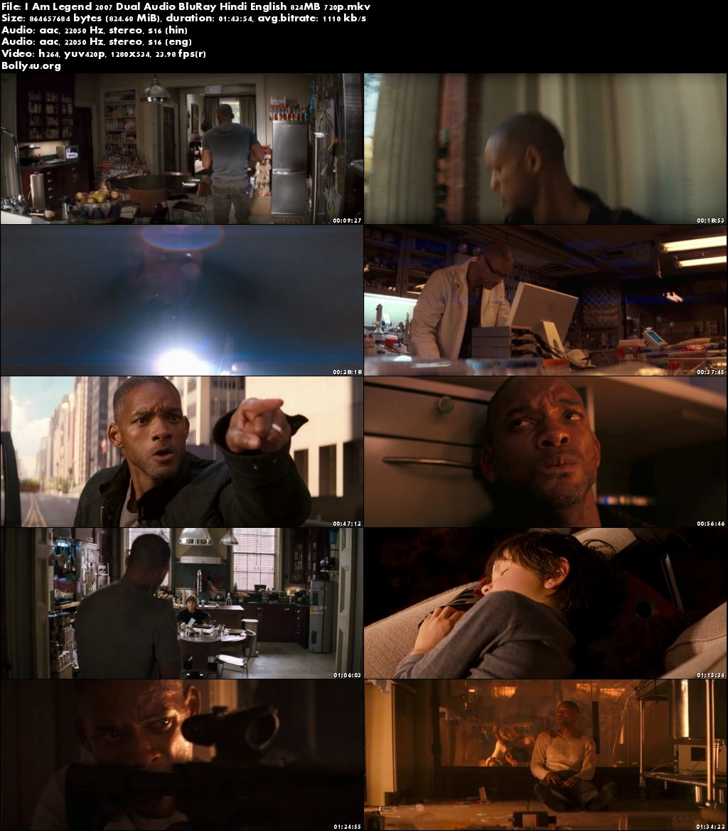 I Am Legend 2007 BRRip 800Mb Hindi Dubbed Dual Audio 720p Download