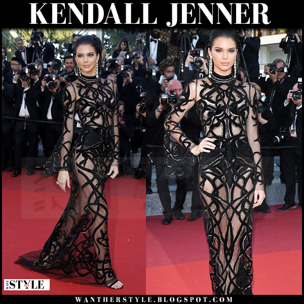 Kendall Jenner in black sheer gown Roberto Cavalli couture cannes 2016 red carpet what she wore