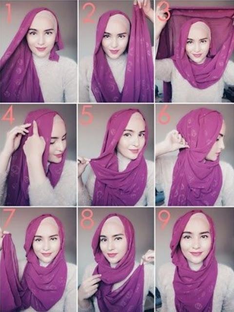 tutorial memakai jilbab pashmina style3