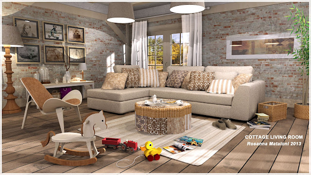 sketchup model living scene sofa #5 -podium render a