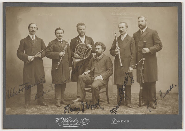 Sir Henry Wood with Promenade Concert Performers  by William Whiteley Ltd albumen cabinet card, circa 1897 5 in. x 8 in. (128 mm x 204 mm) Purchased, 2013 Primary Collection NPG P1837