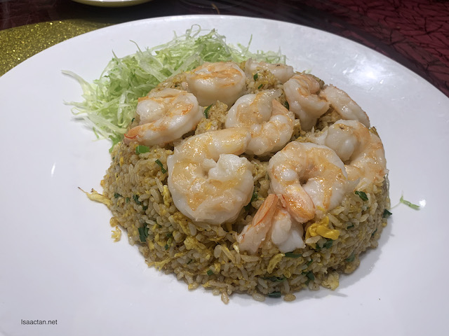 The tasty Fried Rice came with huge king prawns laid on top