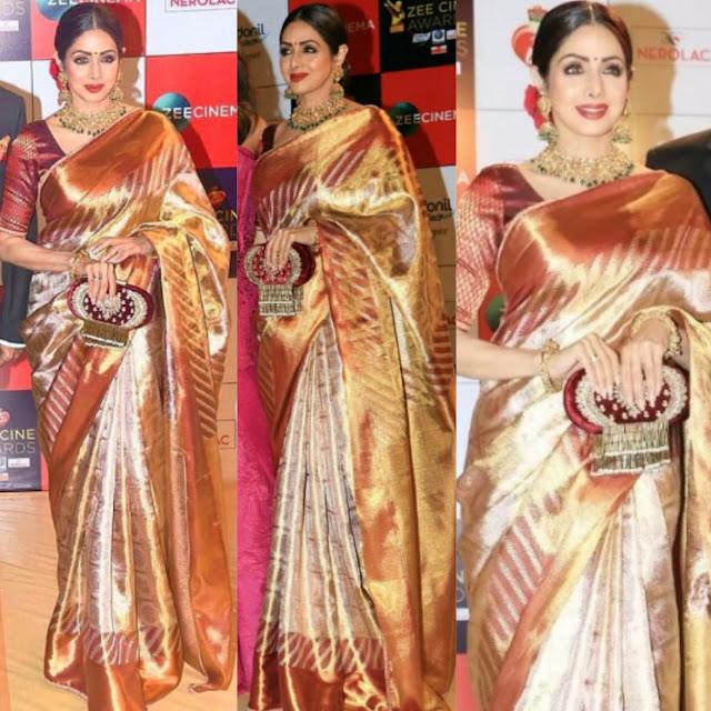 Sridevi in Sabyachi at Zee Cine Awards 2017