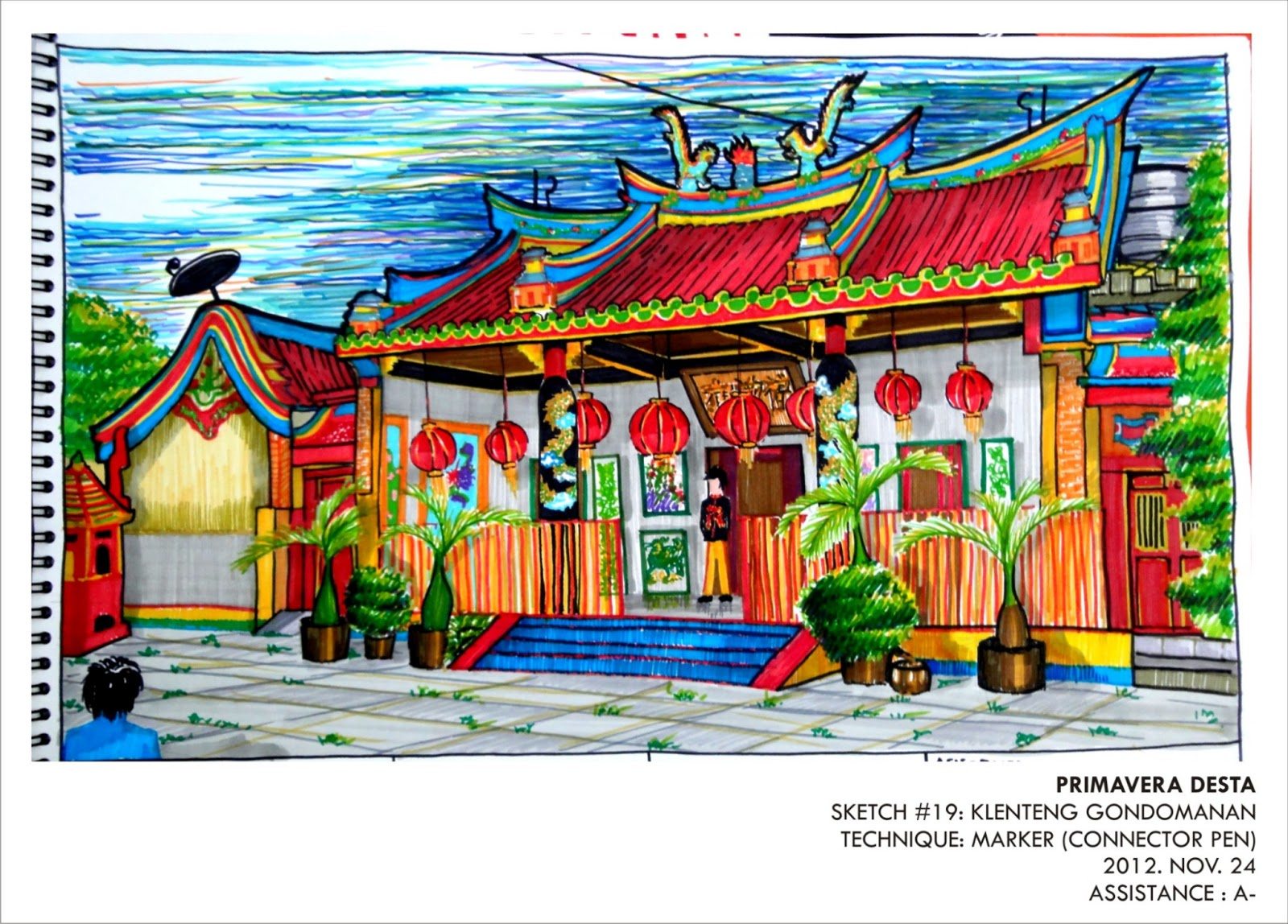 Sketch 19 Klenteng Gondomanan Primaverarch Gong Xi Fa Cai Yogyakarta