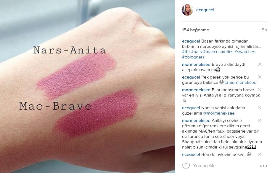 Ece Güçel Makyaj Blogu Nars Audacious Lipstick Anita