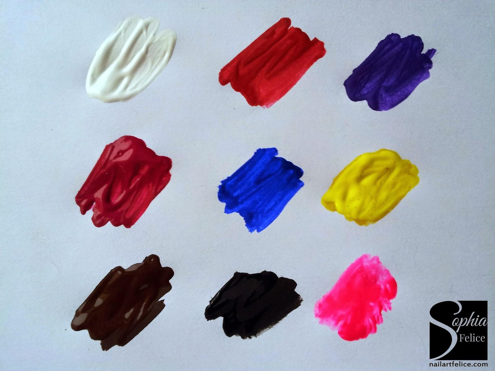 colori acrilici per unghie - swatches