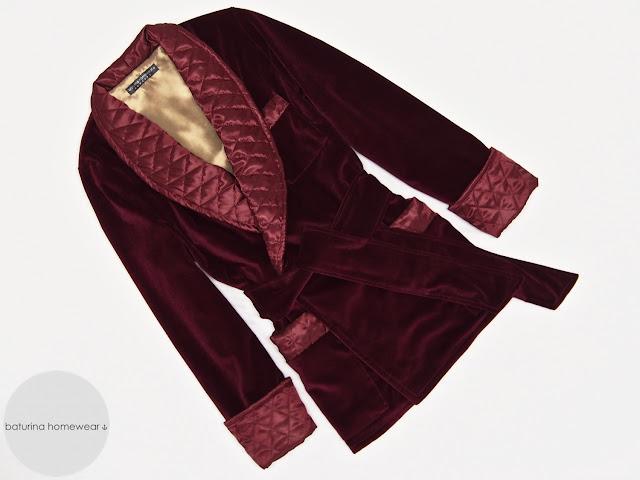 Mens smoking jacket morning robe red velvet dressing gown burgundy quilted silk