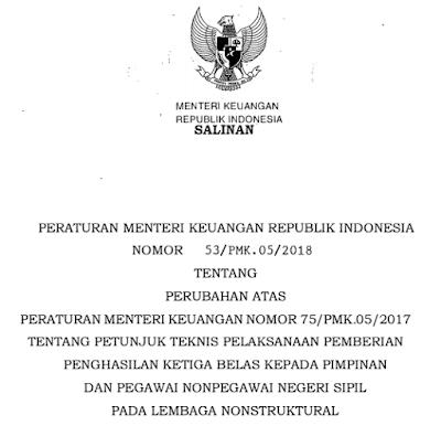 Juknis Pemberian Gaji Ke-13 Lembaga Nonstruktural Tahun 2018