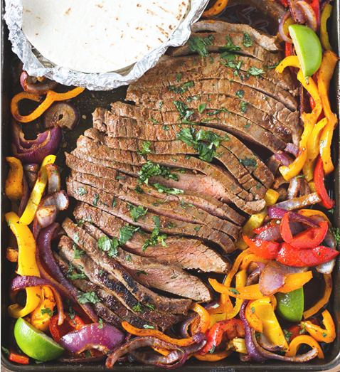 SHEET PAN STEAK FAJITAS #healthyfood #familyrecipe