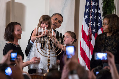President Obama lights a menorah in the White House. President Trump is having trouble getting a menorah loaned to the White House.