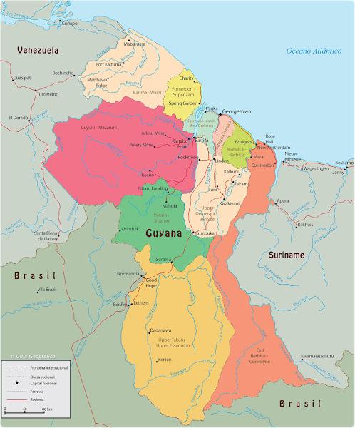Mapa político da Guiana