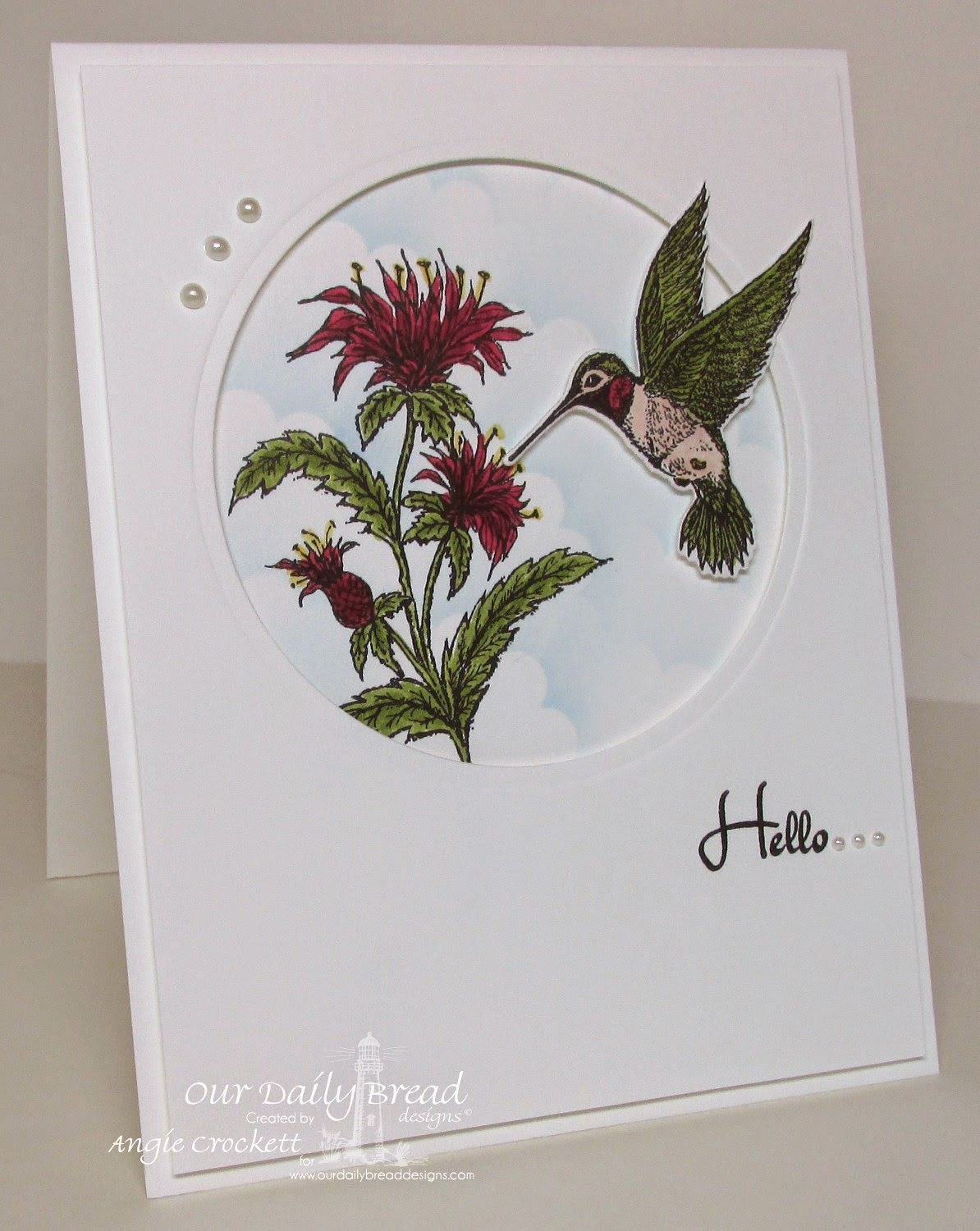 ODBD Miss You, ODBD Bee Balm, ODBD Hummingbird Single, ODBD Custom Hummingbird Die, Card Designer Angie Crockett
