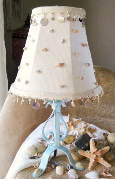 Lampshade Makeover with Seashells