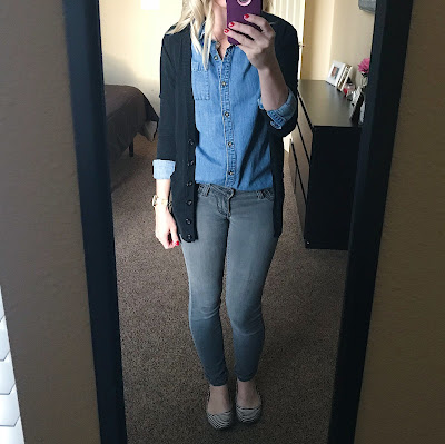 Thrifty Wife, Happy Life- Preschool teacher outfit ideas. Layered Chambray shirt