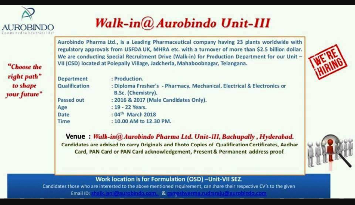 AUROBINDO PHARMA - Walk-In Dive for Freshers on 4th March