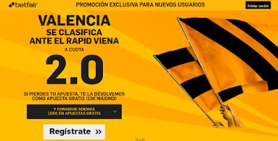 betfair Valencia se clasifica cuota 2 Europa League 25 febrero