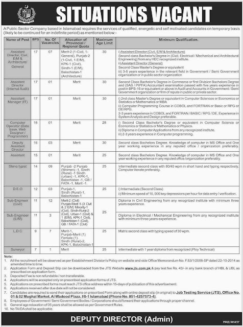 Jobs in Islamabad Public Sector Company Jobs in Pakistan 2018