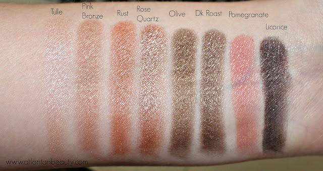 The first row of shimmer shades from Lorac's Mega Pro 3 Palette
