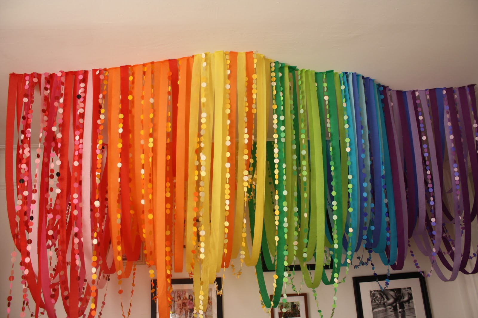 These Chandeliers Rank Right Up At The Top Of My Cur Favorite Diy Party Decorations Including Crepe Paper Streamer Rainbow Punched Chains