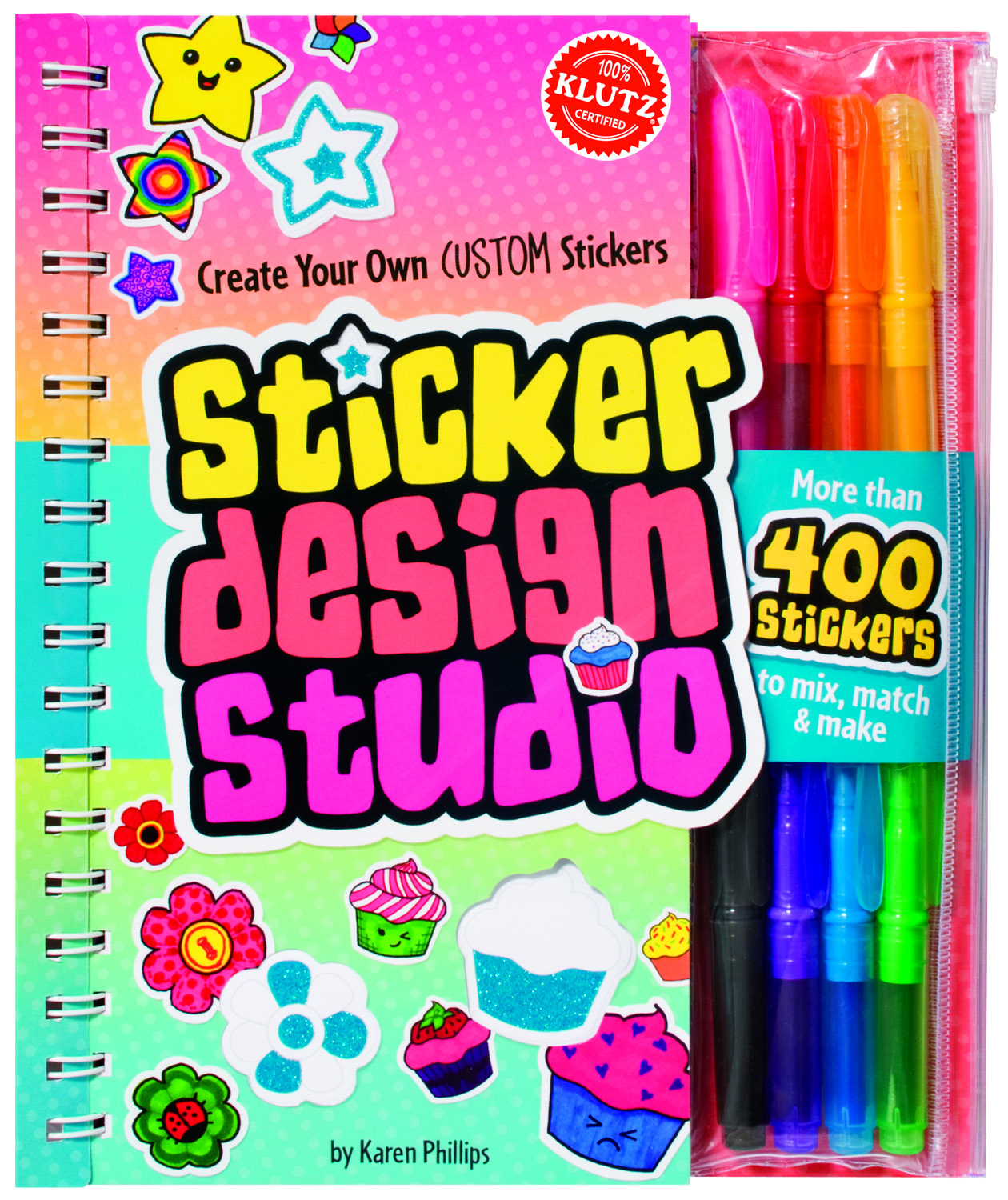 My kids absolutely love stickers so we just had to try out the sticker design studio from klutz now even though this book says its for ages 8 an older