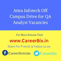 Attra Infotech Off Campus Drive for QA Analyst Vacancies