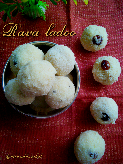 Rava ladoo using Condensed milk Rava ladoo is a quick and easy sweet made with condensed milk, fresh coconut, fine rava and ghee. I learnt this recipe from my Chithi(aunt). In this recipe I have added both sugar and condensed milk for sweetness. To get the best texture and taste, you have to roast the rava very well. Try to use fresh coconuts for this ladoo which gives you a nice flavour. You can whip the coconut gratings in a jar before frying.