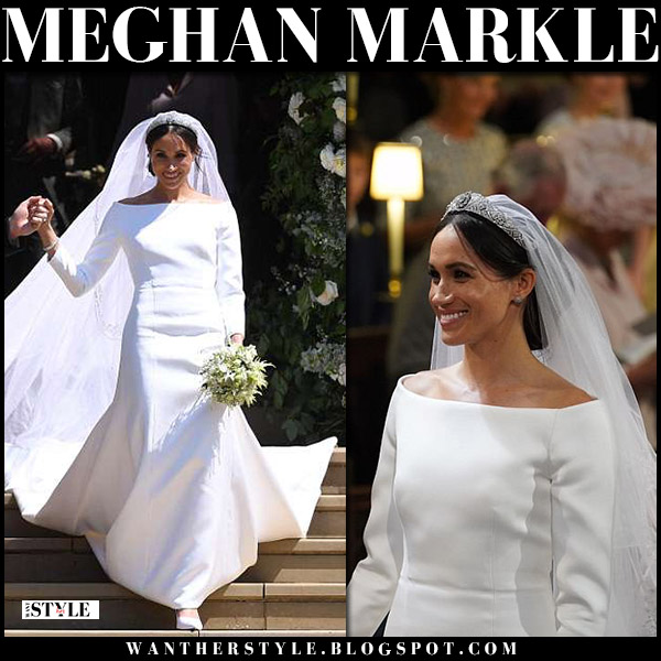 Meghan Markle in white boat neck veil and train wedding dress by givenchy royal wedding may 19 2018