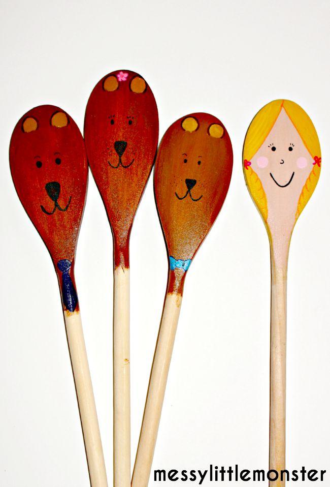 Marionetas de cucharas de palo de Ricitos de Oro