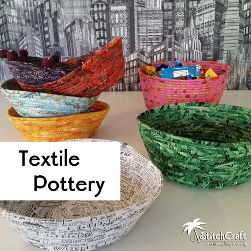 Textile Pottery --- Fabric-Wrapped Bowls