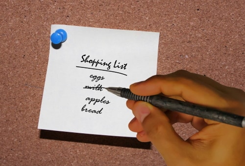 Grocery list is a must when shopping to save money.