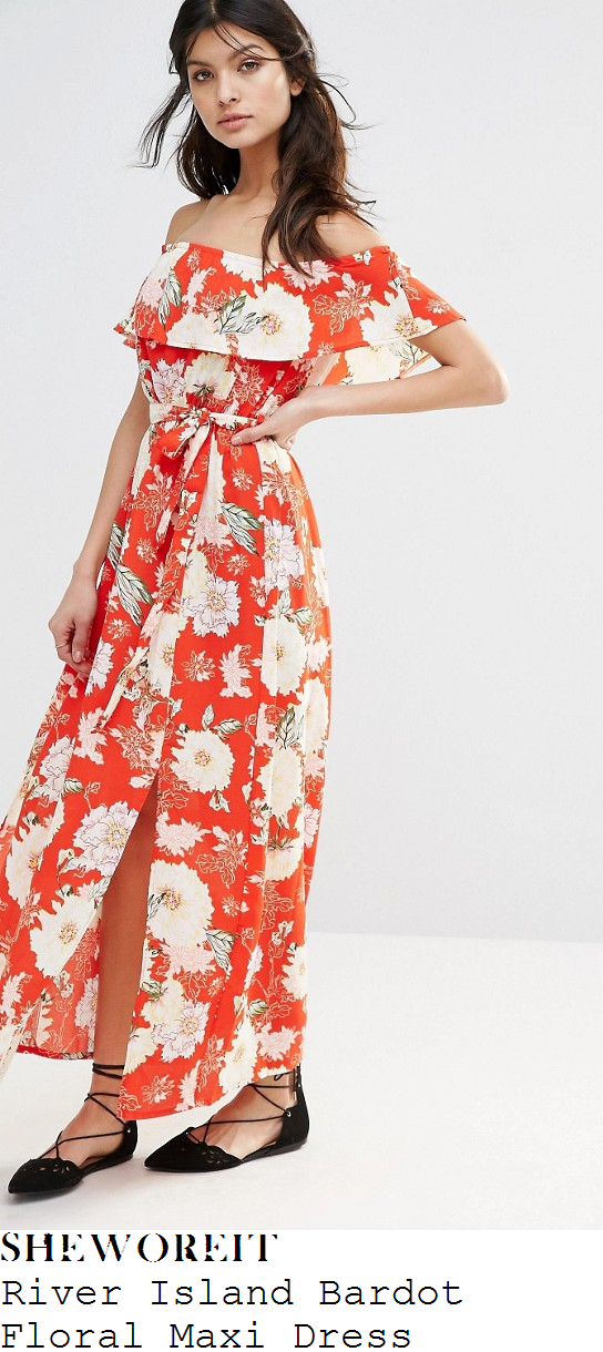 vicky-pattison-river-island-red-white-oriental-floral-print-off-the-shoulder-bardot-maxi-dress