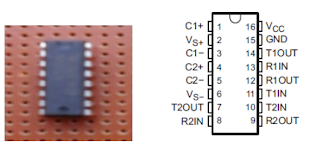 Fig:    physical component of max 232 and                              Pin configuration of MAX232