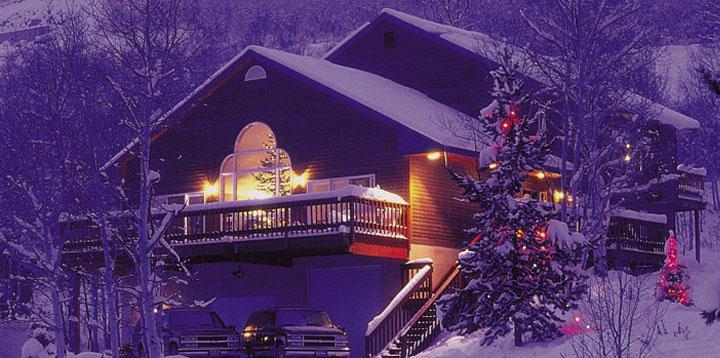 Colorful Christmas Lights On House.Ski House Of The Day Christmas Ski House