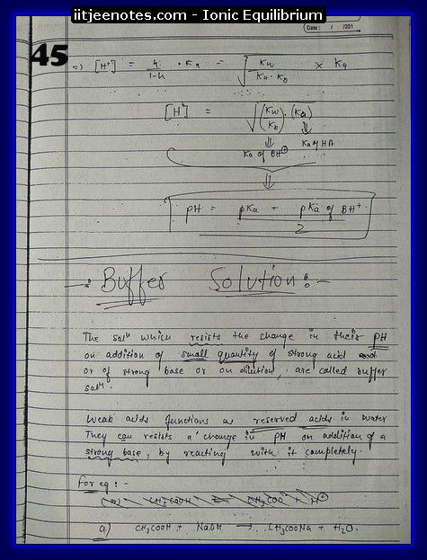 Ionic Equilibrium Notes IITJEE 13
