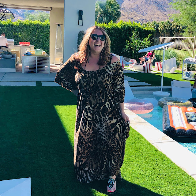 Nuuly, clothing rental, subscription box, fashion, Coldesina Designs Vacation Time Caftan, leopard print, Palm Springs
