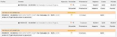 Apuestas Deportivas rosberg Eurocopa 2016 Griezmann Giroud Francia