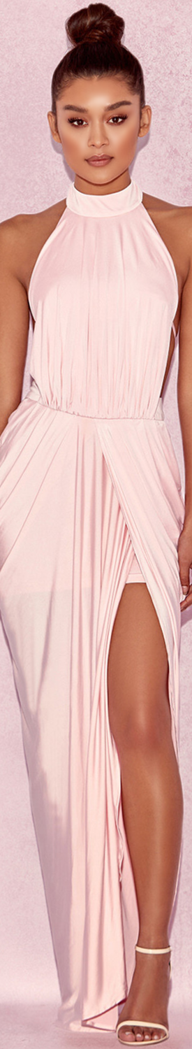 HOUSE OF CB 'VITTORIA' BABY PINK DRAPED SILKY JERSEY MAXI DRESS