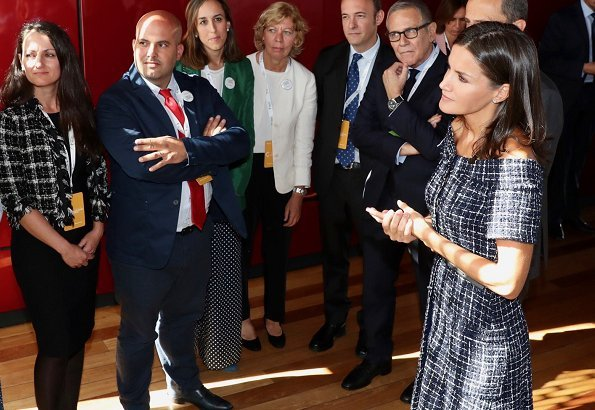 Queen Letizia wore Zara tweed dress with gem buttons and Carolina Herrera High heel slingback blue pumps