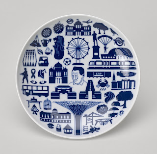 Part of a set of porcelain plates given to the Queen  by the President of Singapore in 2014  © Royal Collection Trust Queen Elizabeth II 2015