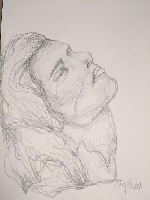 Contour Line Portrait Drawing,Middle School Art