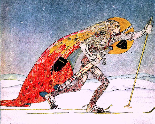 Kay Nielson illustration of a skiing warrior