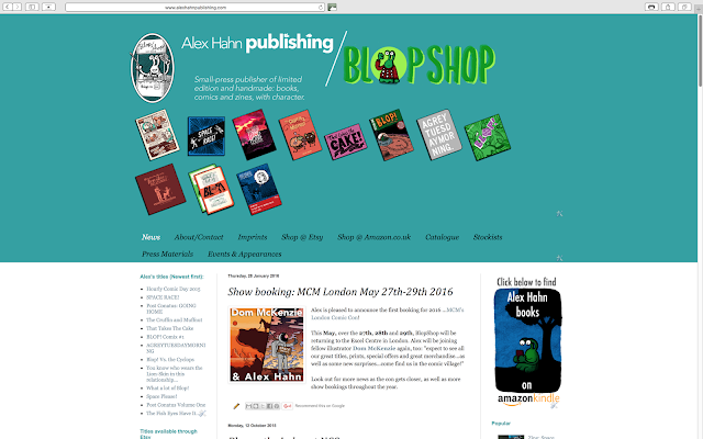 Screenshot of www.alexhahnpublishing.com home page