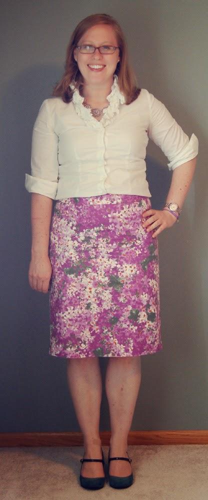 j crew watercolor garden pencil skirt  thrifted  talbots white ruffle blouse   thrifted  merona erin heels d06aa82a3