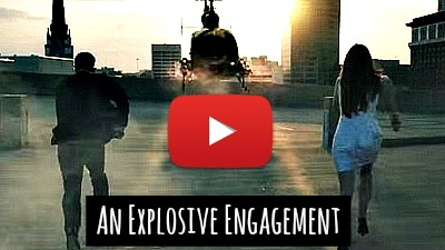 Guy Proposes to girlfriend with an explosive engagement proposal the James Bond way via geniushowto.blogspot.com creative engagement announcement in an action movie