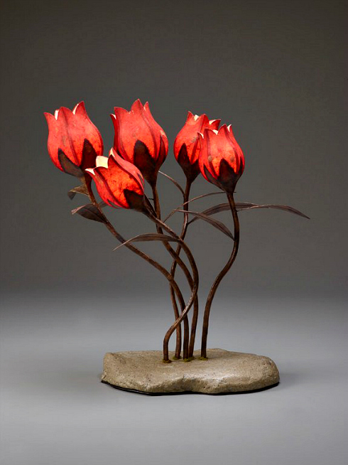 paper tulip lamp sculpture on paper mache base