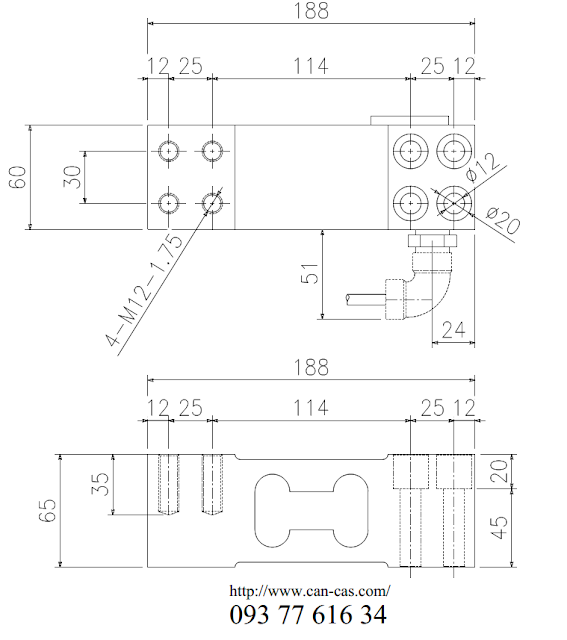 Loadcell BC-300G dimensions