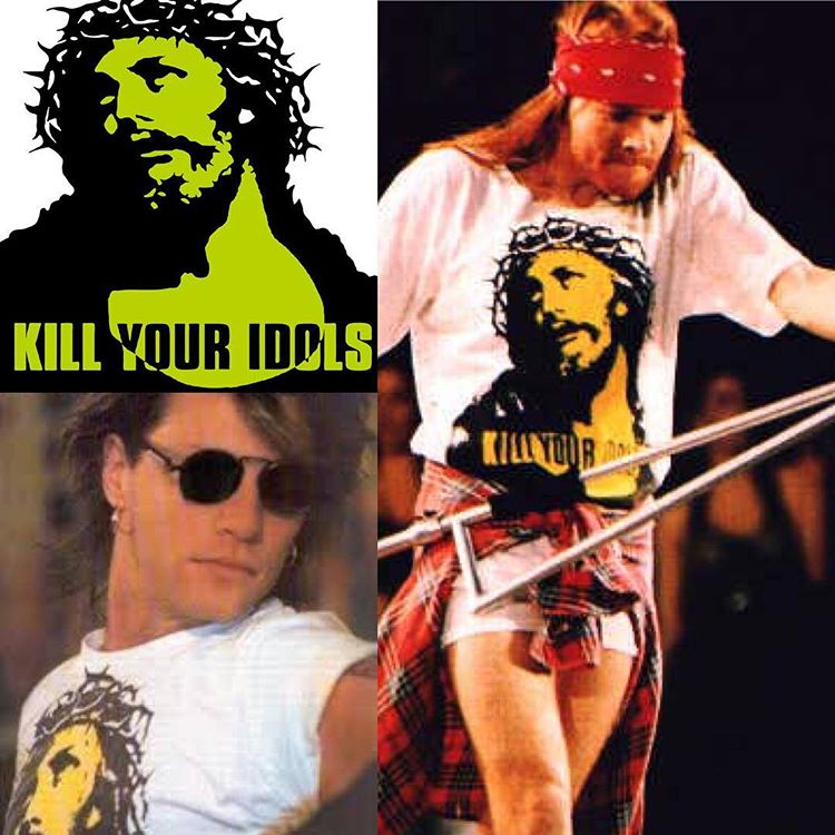 Jon Bon Jovi wearing the same 'KILL YOUR IDOLS' T-shirt as Axl Rose