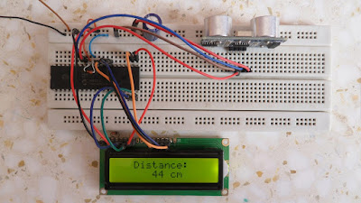 PIC16F887 MCU and HC-SR04 ultrasonic sensor hardware circuit