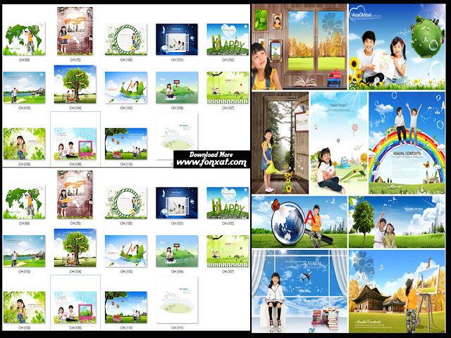 15 ملف psd خاص بتصميمات الاطفال تصميمات باللون الاخضر الرائع