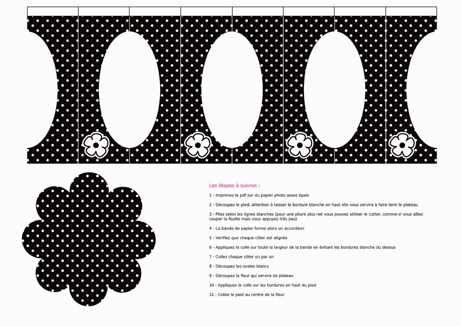 Black with White Polka Dots: Free Printable Mini Cupcake Stand.